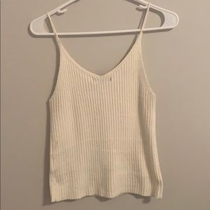 American Eagle Outfitters Tops - Cream ribbed criss cross tank top